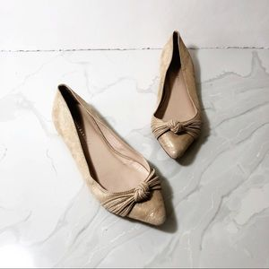 Loeffler Randall Tan Gold Pointed Bow Flats 8.5